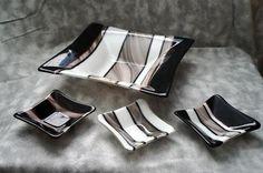 Fused Glass Art Deco Bowl Set