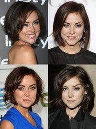 Cute ways to style the same short cut for a heart shaped face.