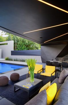 Kloof Road House | Entertain | Nico van der Meulen Architects | M Square Lifestyle Necessities #Design #Yellow #Furniture #Chairs #Decor #Architecture #Contemporary