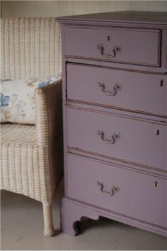 Painted bedroom furniture in Brassica, Farrow and Ball