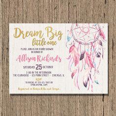 dreamcatcher Baby shower invitation girl boho by StyleswithCharm