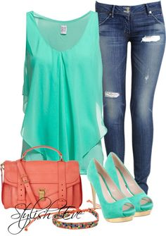 Saint Tropez top with chiffon front & Skinny Jeans