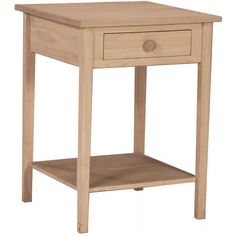 International Concepts Home Accents Unfinished Wood Hampton Bedside Table Ot 91 Sofa End Tables, End Tables With Storage, Bedside Tables, Shelf Nightstand, Coffee Tables, Unfinished Furniture, Unfinished Wood, Tall Accent Table, Bedroom Furniture