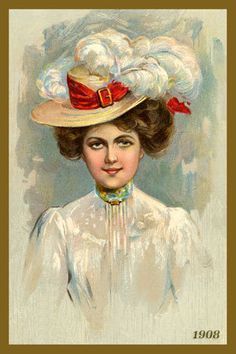 Women and Big Hats Postcard 1908. Quilt Block printed on cotton. Ready to sew.  Single 4x6 block $4.95. Set of 4 blocks with free wall hanging pattern $17.95
