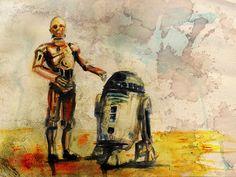 star wars watercolour droids | Microbio comunicación