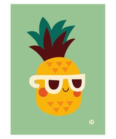 Poster Ananas - Bora Illustraties