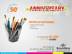 Gold Plan Best #logo #design in your #town #Karachi #Pakistan with 50% off #Discount on our 13th #anniversary #concept  Visit: www.boundlesstech.net