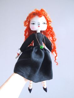 Cloth doll hand embroidered art doll red by JessQuinnSmallArt