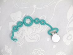 Unique Pacifier Clip, Teal Crochet Pacifier Leash, Dummy Clip, Binky Strap, Soother Holder, Baby Shower Gift