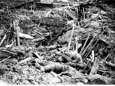 German dead after a mine explosion at the Battle of Messines on 7 June 1917.