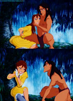 Day Favorite Overall Moment-- Tarzan and Jane's first meeting. This was a hard one because there's just so many to pick from. Walt Disney, Tarzan Disney, Disney Couples, Disney And Dreamworks, Disney Magic, Disney Art, Disney Pixar, Disney Characters, Disney Dream