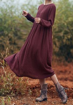 Two colors Casual looser linen dress Vintage by FashionOnline8