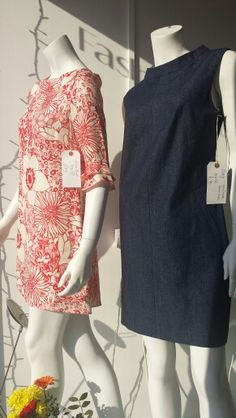 My flower print Alice Dress & Mary Denim Shift looking cute in my boutique window...Nicky Cook @ The White Room SE4 London