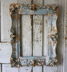 Check out Distressed blue picture frame accented gold wood gesso rustic antique farmhouse hints of white shabby cottage home decor anita spero design on anitasperodesign