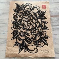 Paper dimensions: (Please be aware the paper has rough edges and these measurements may have some variation due to the nature of the paper), Print dimensions: Original Woodcut prin. Japanese Flower Tattoo, Japanese Tattoo Designs, Japanese Sleeve Tattoos, Chrysanthemum Drawing, Japanese Chrysanthemum, Hannya Tattoo, Yakuza Tattoo, Samoan Tattoo, Polynesian Tattoos