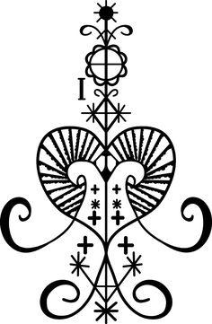 Erzuile, voodoo lwa of love and beauty, protector of women. Voodoo Party, Erzulie Freda, Voodoo Tattoo, Voodoo Hoodoo, Alphabet Symbols, Haitian Art, Symbols And Meanings, Voodoo Dolls, Symbolic Tattoos