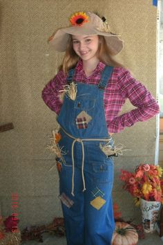 Halloween Scarecrow Costume Teen Junior Size 28 Waist Jean Overallsflannel Shirt Hat