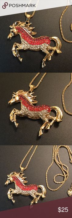 "Crystal Horse 🐴 24"" Long Necklace New Brand New zdazzled Jewelry Necklaces"