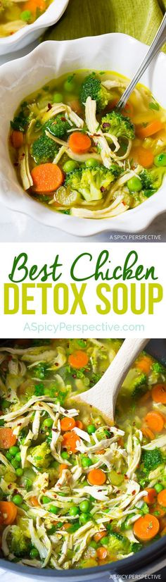Best Ever Chicken Detox Soup Recipe Cleanse – A nourishing homemade soup with fresh chicken and loads of veggies to boost your metabolism and immune system, as well as remove toxins. (Paleo, Gluten Free, Dairy Free) Best Ever Chicken Detox Soup Sopas Light, Sopa Detox, Cleanse Detox, Healthy Cleanse, Detox Soups, Detox Tea, Diet Detox, Stomach Cleanse, Cleanse Recipes