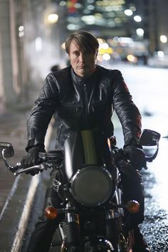 Mads Mikkelsen in leather on a motorcycle is everything....                                                                                                                                                      More