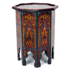 Handpainted Bleu Multicolor Wooden Fes End Table (230 CAD) ❤ liked on Polyvore featuring home, furniture, tables, accent tables, wood end tables, moroccan side table, wooden lamp table, moroccan end table and moroccan wood side table