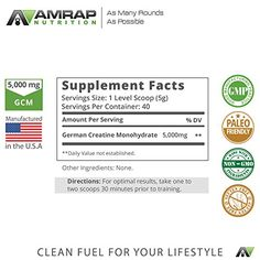 AMRAP Nutrition - Pure Creatine - Formulated to Give You Energy When You Need It Most - Builds Lean Muscle Mass & Aids in Muscle Recovery - Pre-workout Supplement for Men & Women