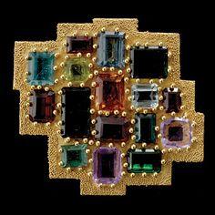 Ed Wiener Abstract Multi Gemstone, 18K Yellow Gold Brooch