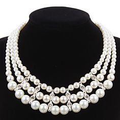 Elegant+Imitation+Pearl+Strand+With+Rhinestone+Women's+Necklace+–+USD+$+14.00