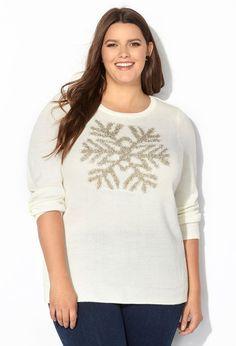 Lurex Snowflake Pullover Sweater
