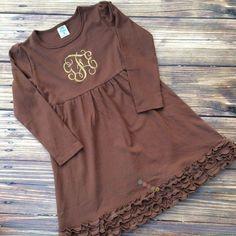 Monogrammed Brown Ruffle Dress.