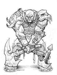 Orc 3 by Monster Characters, Fantasy Characters, Character Drawing, Character Illustration, Robot Sketch, Epic Drawings, Owl Coloring Pages, Graffiti Drawing, Samurai Art