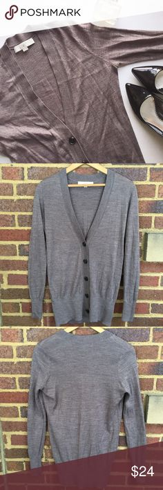 """LOFT Button Down Cardigan Lightweight cardigan with ribbed cuffs, hem and neckline. Tiny pinhole in the back that I didn't notice until photographing. Approximately 27"""" shoulder to cuff,  19"""" armpit to cuff.  🚫Trades / Lowball ✨Reasonable Offers Welcome 💰Bundle Discount Offered  📬 Ships in 1-2 Days LOFT Sweaters Cardigans"""