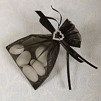 Ready Made Organza and Diamante Pouch In Black
