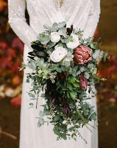 Gorgeous and lush protea wedding bouquet Protea Wedding, Peony Bouquet Wedding, Bride Bouquets, Floral Wedding, Fall Wedding, Green Wedding, Cascading Wedding Bouquets, Wedding Vintage, Wedding Trends