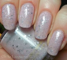 This is everything. I love the soft lilac pink, the silver hex glitter floating around on the nail, and the overall whimsical feel that this polish g...  #glitter #hex #jelly #pale #nails #nailpolish
