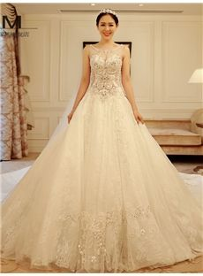 Luxury Scoop Appliques Beadings Cathedral Tarin Wedding Dress
