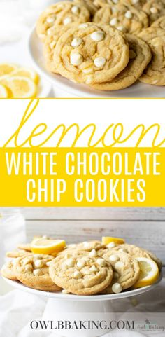 These Lemon White Chocolate Chip Cookies are soft, chewy & bursting with fresh lemon! This easy cookie recipe is from scratch making it the best. Chocolate Marshmallow Cookies, White Chocolate Chip Cookies, Chocolate Chip Shortbread Cookies, Lemon Cookies, Easy Chocolate Chip Cookie Recipe, White Chocolate Desserts, Chocolate Chocolate, Lemon Desserts, Biscuits