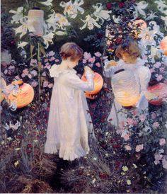 Carnation, Lily, Lily, Rose by John Singer Sargent. I love John Singer Sargent. Such amazing glows of light in his paintings. Google Art Project, Renoir, Carnation Lily Lily Rose, Beaux Arts Paris, Tate Britain, Great Paintings, Popular Paintings, Beautiful Paintings, Wow Art