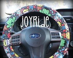 Steering Wheel Cover Blue Boho Vintage Coral Bohemian Flowers W Matching Keychain Option