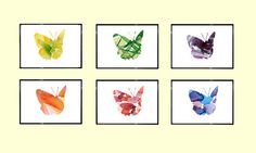 Set of 6 Butterfly Watercolor Painting by Lemonillustrations