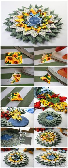 Stacked prairie points - WANT to try this with my Sunflower fabric Oh Yeah Quilting Tutorials, Quilting Projects, Craft Projects, Sewing Projects, Quilted Ornaments, Fabric Ornaments, Patchwork Quilting, Fabric Flower Tutorial, Fabric Flowers