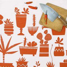 Succulents tea towel -Terracotta   por skinnylaminx