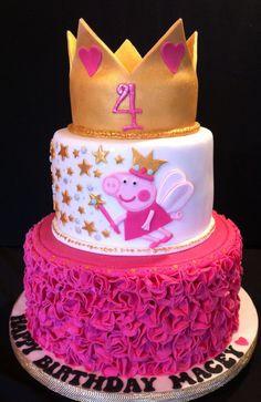 Peppa pig princess cake Peppa Pig is a British toddler super-hero television system series made Cake Peppa Pig, Tortas Peppa Pig, Bolo Da Peppa Pig, Cumple Peppa Pig, Peppa Pig Birthday Cake, Happy Birthday Cakes, Birthday Cake Girls, Birthday Parties, Princess Peppa Pig Party