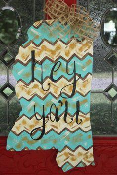 Mississippi painted chevron Door Hanger.