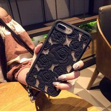 New 3D Oco Rose silicone macio Caso de Telefone Celular Para O iphone Da Apple 8 8 mais 6 6 s plus 7 7 plus gel Luxo flor Tampa traseira(China)