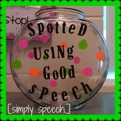 "[simply speech.]  ""Spotted Using Good Speech"": Great idea for speech therapists to promote using learned skills/strategies but also can be given to classroom teacher to help with carryover!  Cute DIY reinforcer!"