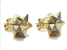 """""""Tetra Diamond Stud Earrings""""  Verahedra series stud earrings in 18K yellow gold with 90 round white diamonds at 1.1 mm each (0.54 carats). Verahedra Series: A series of complex, interlocking geometries reminiscent of Euclidean geometries and ancient architecture from the Egyptian, Mayan and Sumerian temples.     http://johnbrevard.com/tetra-diamond-stud-earring"""