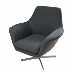 Brushed metal and grey fabric armchair Agency