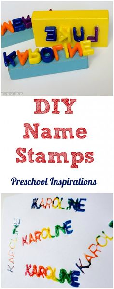 Make a personalized name stamp for name recognition and practice. DIY Name Stamps by Preschool Inspirations