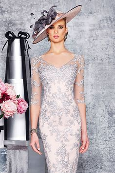 Blush and silver v neck lace dress with sleeves 008923/008950 - Catherines of Partick
